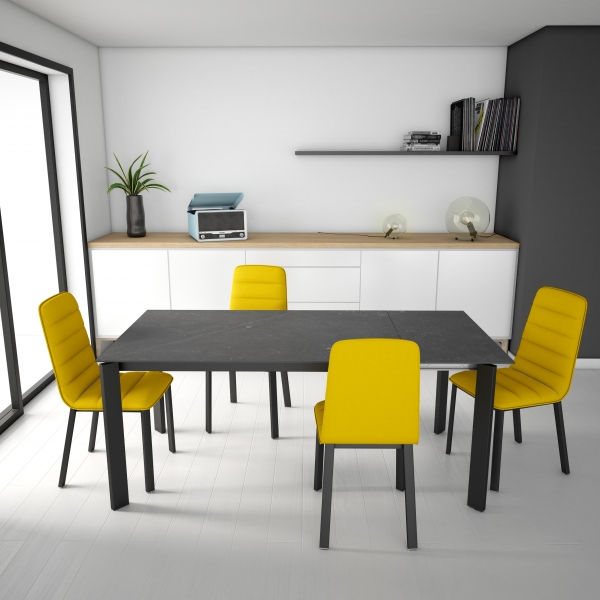 Table petit espace en dekton gris et pieds en métal gris - Poker - 2