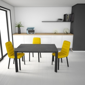 Table petit espace en dekton gris et pieds en métal gris - Poker