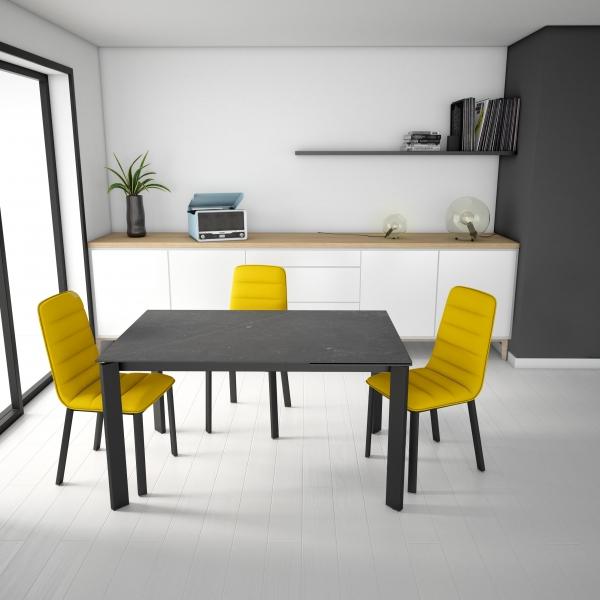 Table petit espace en dekton gris et pieds en métal gris - Poker - 1