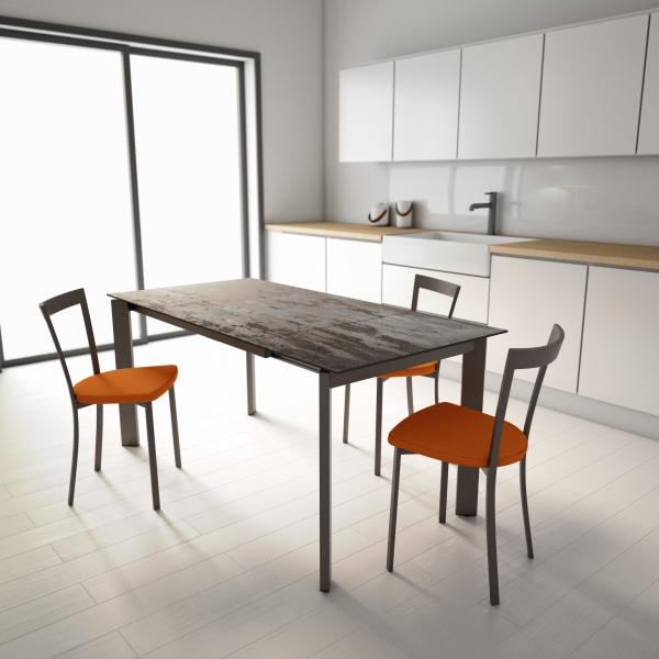 Table de cuisine dekton effet bronze patiné pieds bronze - Poker - 4