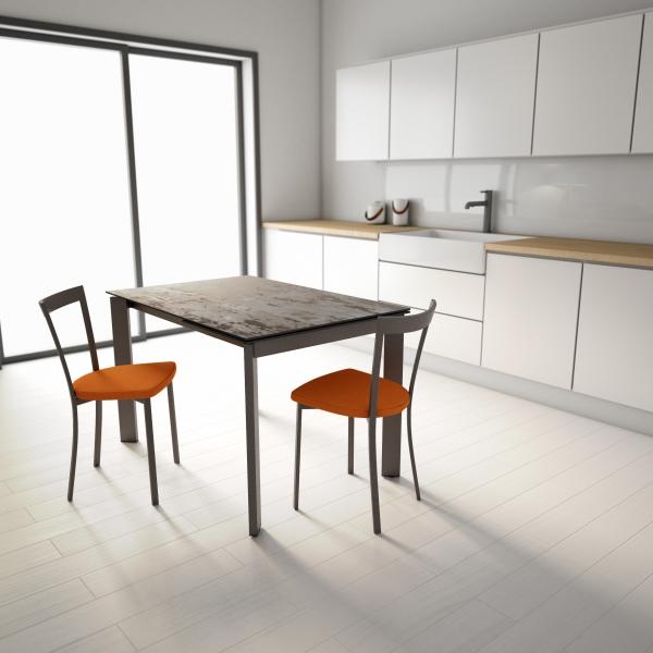 Table de cuisine dekton effet bronze patiné pieds métal bronze - Poker - 3