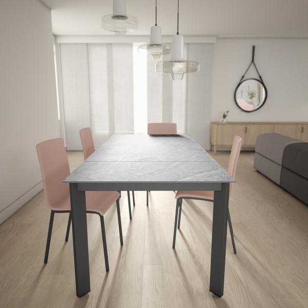 Table dekton extensible gris clair pieds métal anthracite - Poker - 6