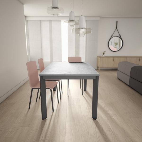 Table dekton extensible gris clair pieds métal anthracite - Poker - 5