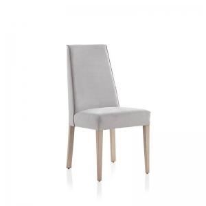 Chaise en tissu gris rembourrée style contemporain - Mila