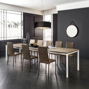 table extensible rectangulaire en stratifié effet bois - Aaron