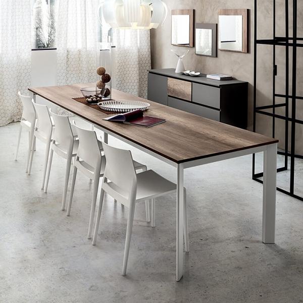 table de salle à manger extensible rectangulaire plateau en stratifié effet bois et pieds blanc- Mario - 1