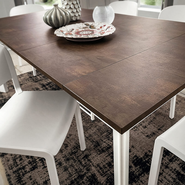 Table console extensible en stratifié marron et pieds blancs - Steave - 3