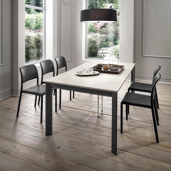 Table console extensible en stratifié blanc texturé et pieds gris - Steave - 2