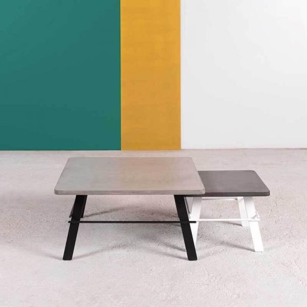 Table basse design carrée en béton ciré gris fabrication française - Opale - 1