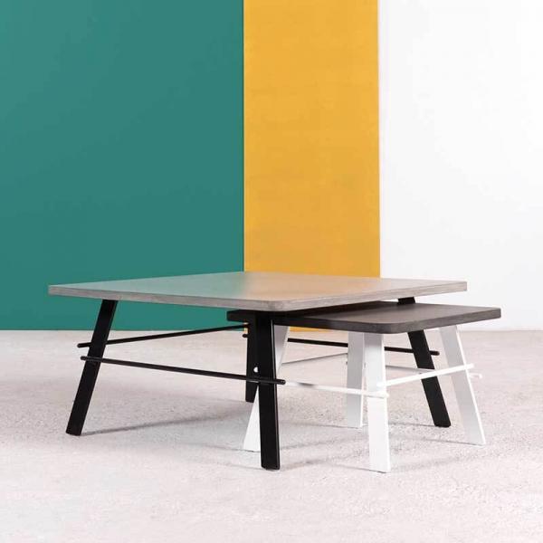 Table de salon design carrée en béton ciré fabrication française - Opale - 2