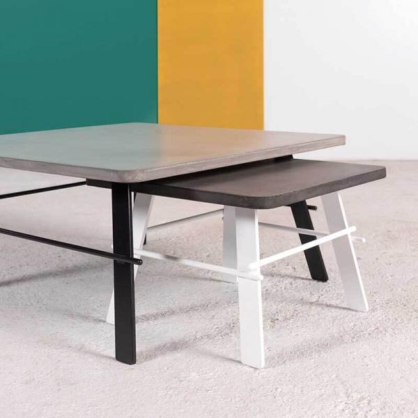 Table de salon en béton ciré gris fabrication française - Opale - 4