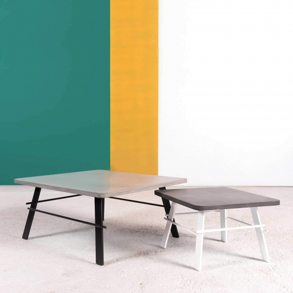 Table basse carrée béton ciré gris fabrication française - Opale - 5