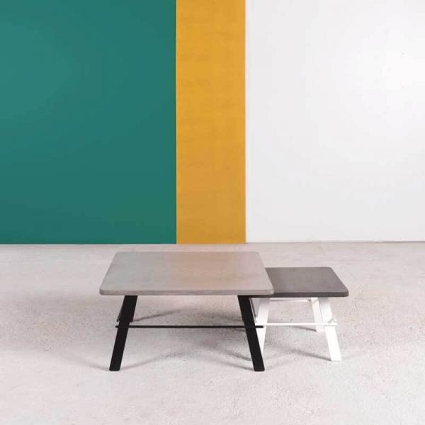 Table basse design carrée en béton ciré taupe fabrication française - Opale - 8