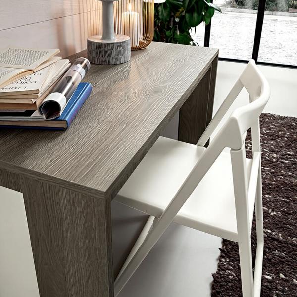 Table console extensible en mélaminé effet bois grisé  - Tony - 3