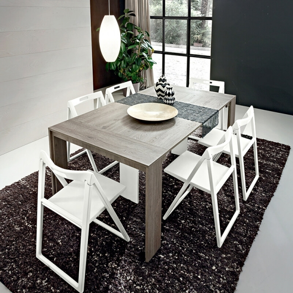 Table console extensible en mélaminé effet bois grisé - Tony - 2