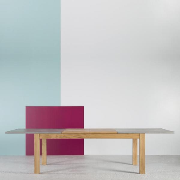 Table française extensible en béton ciré et bois massif - Repas - 1