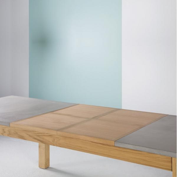 Table fabrication française extensible en béton ciré et bois massif - Repas - 5