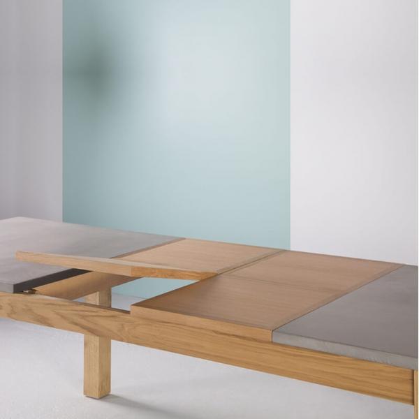 Table made in France avec allonges en béton ciré et bois massif - Repas - 4