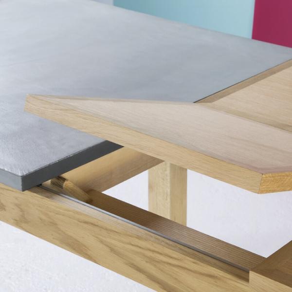 Table française avec allonges en béton ciré et bois massif - Repas - 3