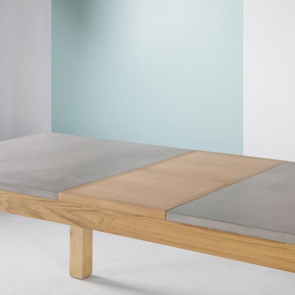 Table fabrication française avec allonges en béton ciré et bois massif - Repas - 6