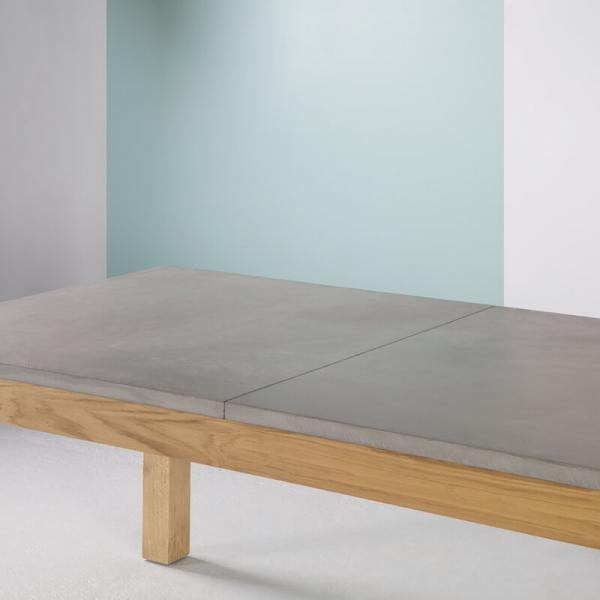 Table made in France extensible en béton ciré et bois massif - Repas - 2