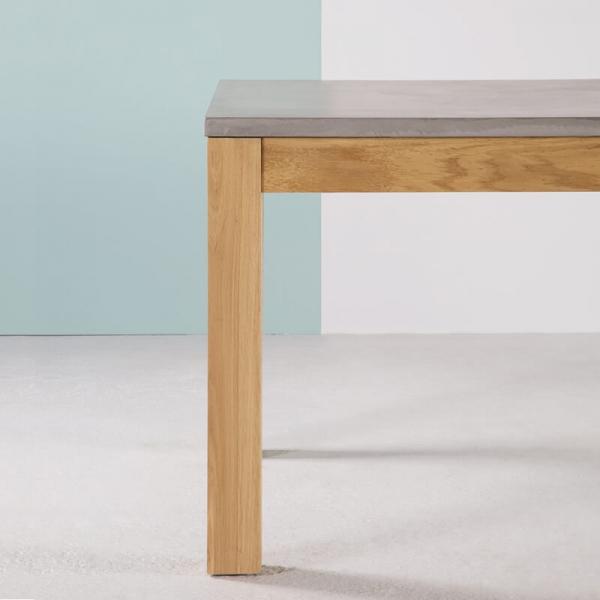 Table en béton ciré française et pieds en bois massif avec allonges en bois - Repas - 8