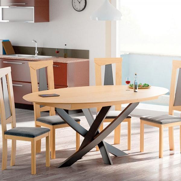 Table design extensible ovale fabrication française en bois avec pied central - Elliptica - 1