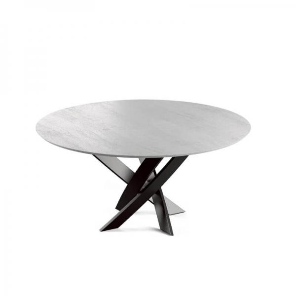 Table ronde design pied central de fabrication française en céramique - Elliptica - 1