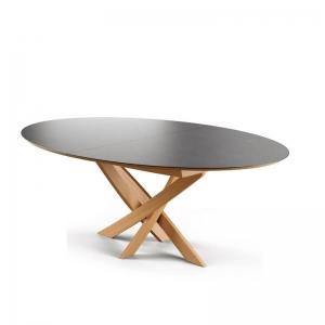 Table extensible design ovale pied central bois et plateau céramique - Elliptica