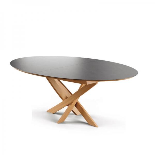 Table extensible design ovale pied central bois et plateau céramique - Elliptica - 1