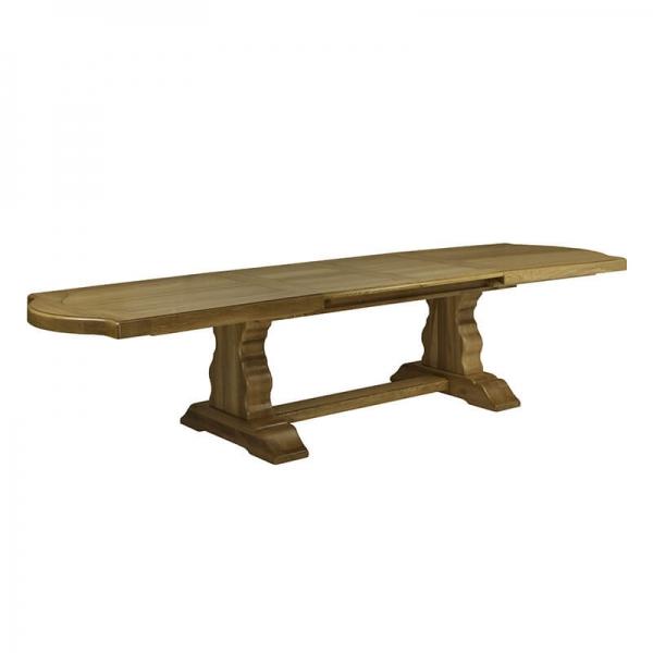 Table d'abbaye rustique en bois massif foncé avec allonges - Monastère - 6
