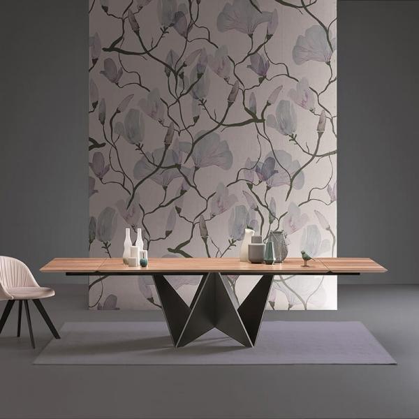 Table extensible design italien pied original et plateau en bois - Origami  - 1