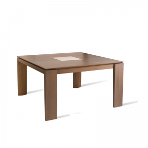 Table carrée extensible en bois avec motif céramique - Bakou