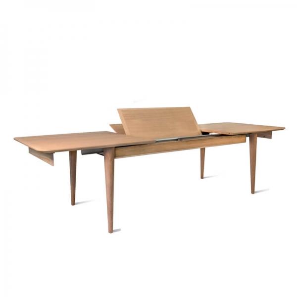 Table française en bois massif avec allonges style vintage - Sixties - 4