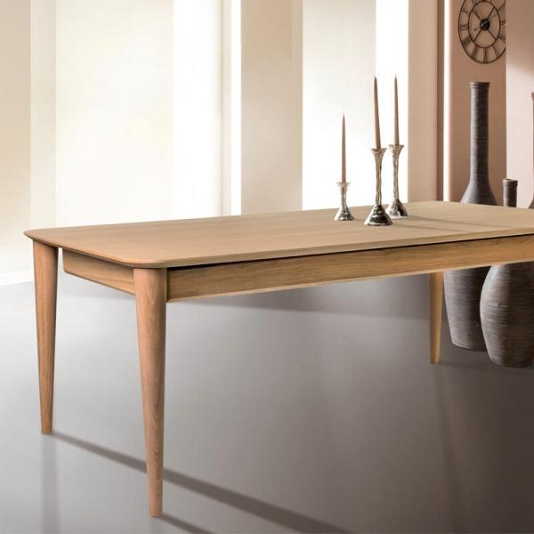 Table vintage française extensible en bois massif - Sixties - 1