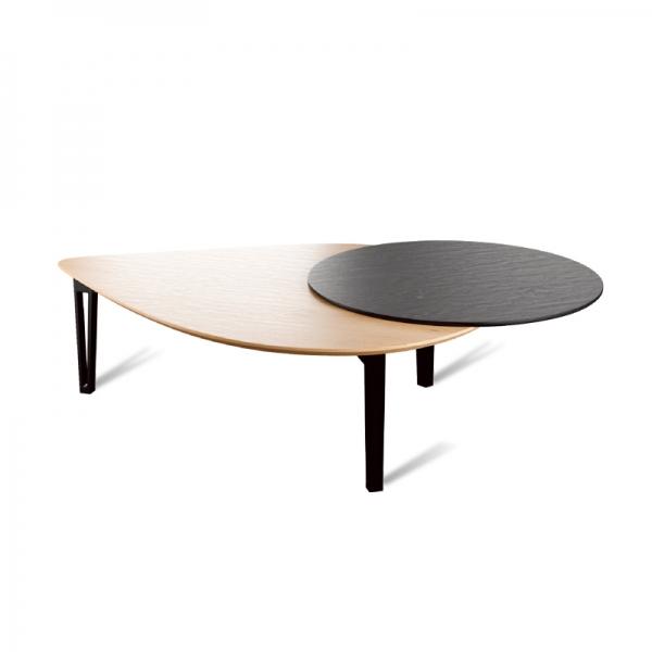 Table de salon scandinave made in France avec tablette pivotante - Perle - 2