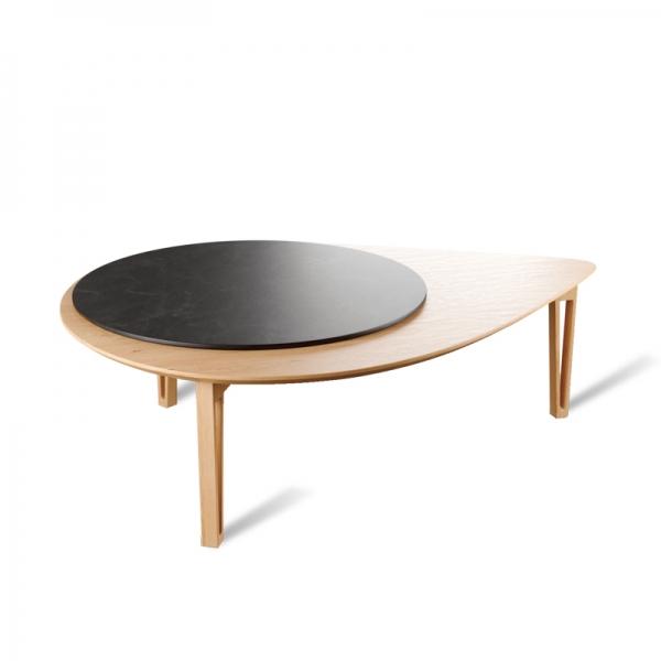 Table basse nordique fabrication française avec tablette mobile - Perle - 3