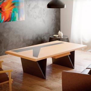 Table basse moderne française en bois avec insert en céramique - Delta