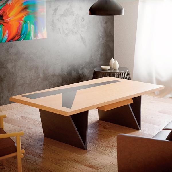 Table basse moderne française en bois avec insert en céramique - Delta - 1