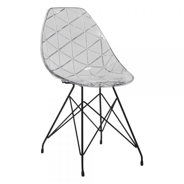Chaise design coque transparente avec pieds eiffel en métal - Prisma - 9