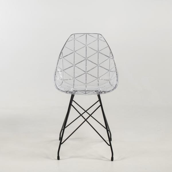Chaise coque transparente avec pieds eiffel en métal noir - Prisma - 10