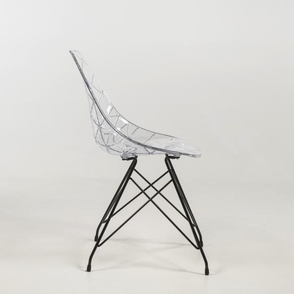 Chaise tendance coque transparente avec pieds eiffel en métal - Prisma - 11