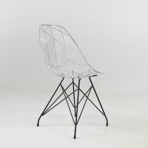 Chaise moderne coque transparente avec pieds eiffel en métal - Prisma - 12