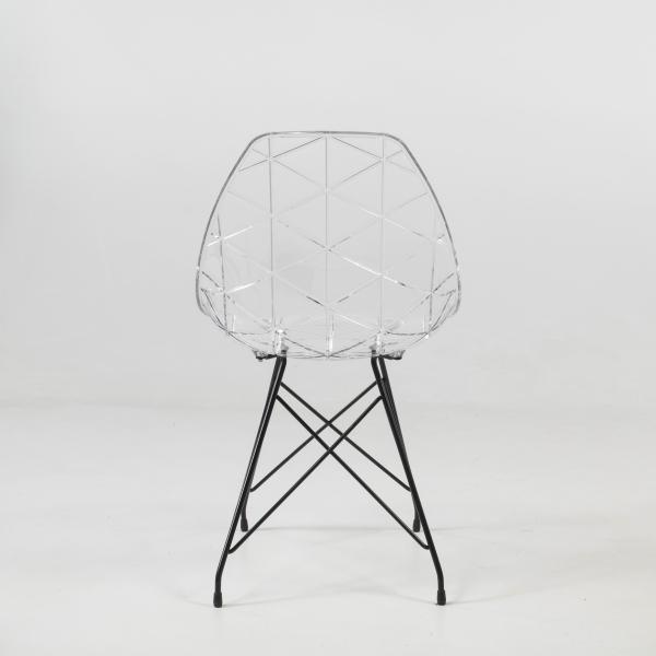 Chaise transparente avec pieds eiffel en métal noir - Prisma - 13