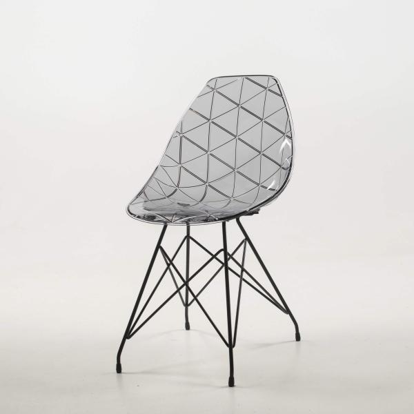 Chaise design transparente avec pieds eiffel métalliques noirs - Prisma - 16