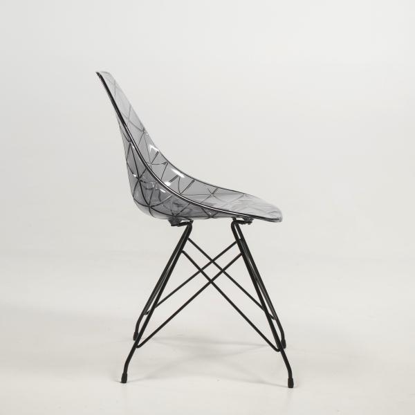 Chaise design transparente avec pieds eiffel noirs - Prisma - 17