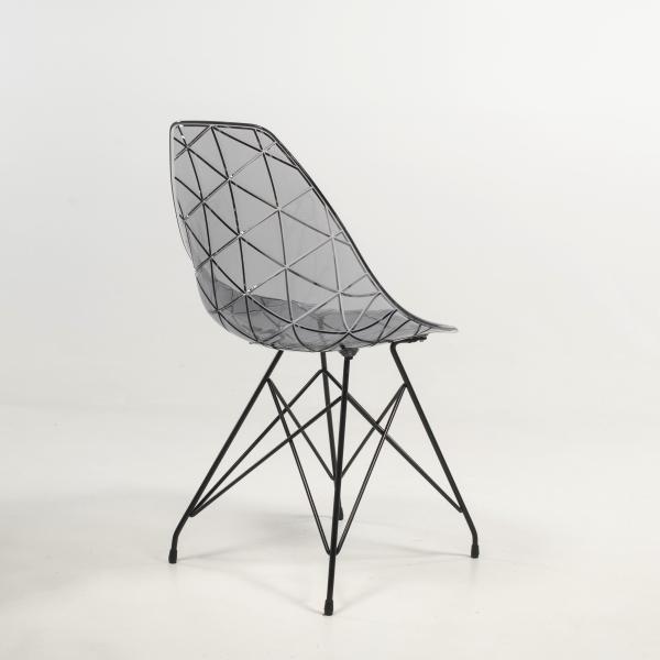 Chaise transparente avec pieds eiffel noirs - Prisma - 18