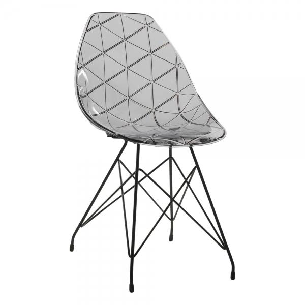 Chaise design transparente avec pieds eiffel en métal noir - Prisma - 14