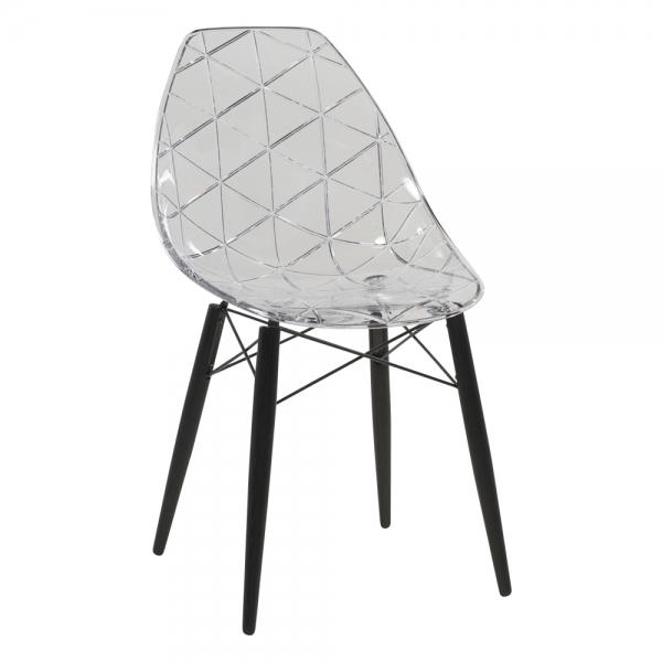 Chaise avec pieds en bois noir et coque transparente - Prisma - 8