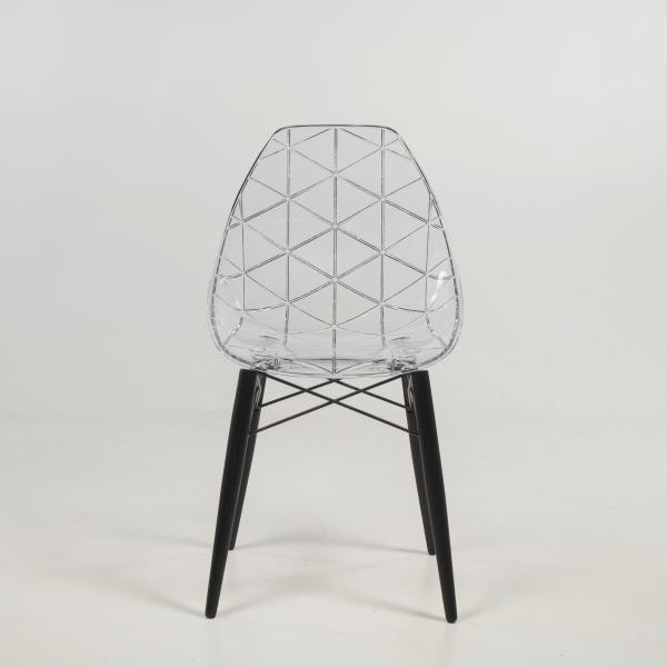 Chaise design avec pieds en bois noir et coque transparente - Prisma - 9